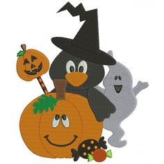 Pumpkin Ghost and Crow Halloween Filled Machine Embroidery Design Digitized Pattern #halloween #embdoidery #appliques #ghost