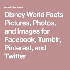 Disney World Facts Pictures, Photos, and Images for Facebook, Tumblr, Pinterest, and Twitter