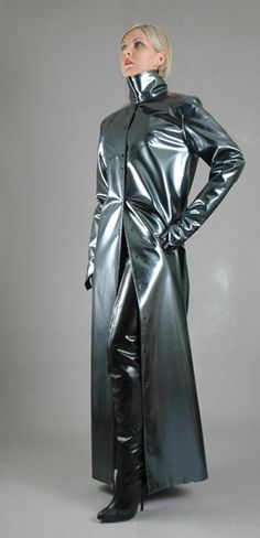 Sumptuous grey metallic latex coat