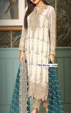 Off-white Crinkle Chiffon Suit   Buy Asim Jofa Pakistani Dresses and Clothing online in USA, UK
