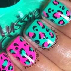 Pink and teal leopard print nails. Funky Nails, Neon Nails, Trendy Nails, Cute Nails, 3d Nails, Toe Nail Designs, Acrylic Nail Designs, Nails Design, Animal Nail Designs