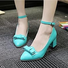 Women's Shoes Patent Leather Chunky Heel Ankle Strap Pointed Toe Pumps Casual More Colors available