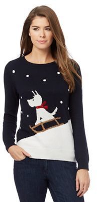 The Collection Navy  Scotty Dog  Christmas jumper Womens Christmas Jumper 858ca3424