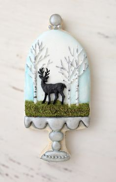 Arty McGoo:  tallcakestand cookie cutter.  Deer.  Birch trees.  Cake dome.  Fall.  Winter.  Christmas.