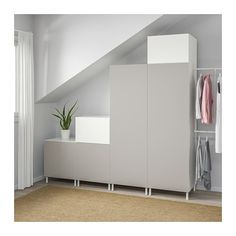 IKEA PLATSA wardrobe Adjustable feet make it possible to compensate any irregularities in the floor. Armoire Ikea, Recycled Door, Frame Shelf, Fitted Wardrobes, Ikea Bedroom, Affordable Furniture, Spare Room, Interior Accessories, Home Furnishings
