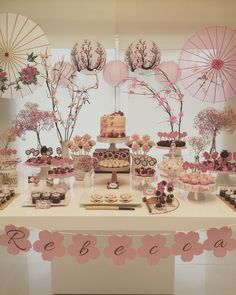 Pin by Joan Rosales event planner on chinese theme party Japanese Theme Parties, Japanese Party, Chinese Party Themes, Japanese Wedding, Asian Party Decorations, Baby Shower Table Decorations, Deco Candy Bar, Cherry Blossom Party, Japanese Birthday