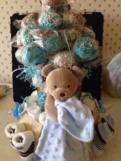 Baby boy cake pop table decoration