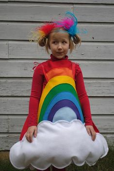 Handmade felt Rainbow costume for Toddler to wear for Halloween Red Orange Yellow Green Blue Violet with White Cloud on Etsy, $75.00