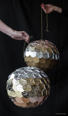 #DIYDiscoBall #DIYcrafts #NewYearDecorations www.LiaGriffith.com: