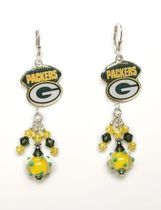 Green Bay Packers Earrings Tailgate In Style Hand Crafted Gl Beads With Matching Swarovski