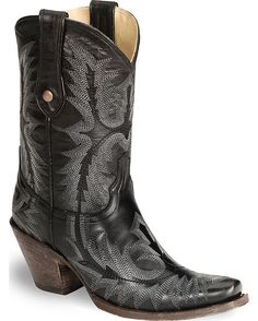 Black Goat Leather Stitched Boot by Corral Boots