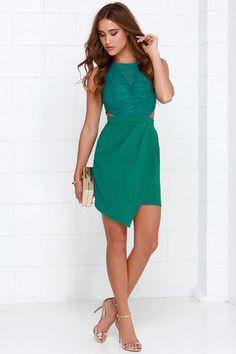 Elegant Teal Green Dress - Lace Dress - Sheath Dress - $97.00