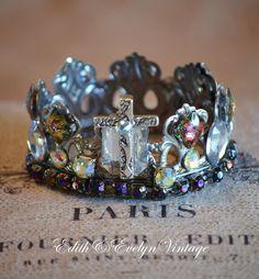 Statue Crown, Rhinestone Cross, Santos, Vintage Jewelry Parts Findings, Tiara, Rhinestones