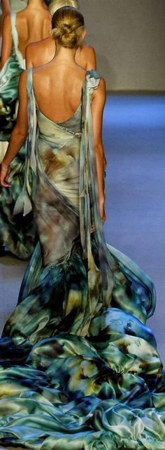 Zac Posen. Love the water colour print. Beautifully designed gown.