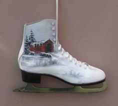 Ice Skate Hand Painted By Seller And Signed by GiftArtPersonalized