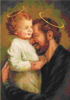 Jesus Christ and Joseph Catholic Prayers, Catholic Art, Catholic Saints, St Joseph Catholic, Pictures Of Jesus Christ, Religious Pictures, Happy Feast Day, Christian Images, Jesus Faith