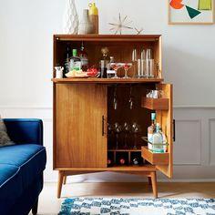 Lovely West Elm Mid Century Bar Cabinet Large