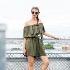 Off-Shoulder Playsuit – Classic Green Top Blogs, Playsuit, Fit, Jumpsuit, Lifestyle, Shoulder, Womens Fashion, Shopping, Dresses