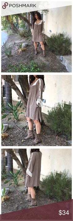 🔴 Side pocket tunic dress BOGO sale Pretty light Olive/mocha lace trim side pocket loose fit dress PLEASE Use the Poshmark new option you can purchase and it will give you the option to pick the size you want ( all sizes are available) BUNDLE and save 10% ( no trades price is firm unless bundled) Dresses