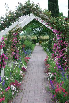Floral covered arbor over walkway