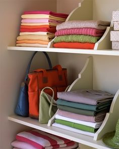 Upside Down Shelf Brackets as Sweater Organizer