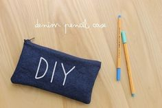 Diy Denim Pencil Case  •  Free tutorial with pictures on how to make a pouch, purse or wallet in under 35 minutes