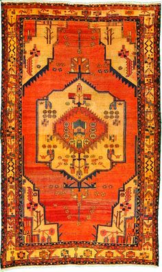 This Semi-Antique Authentic Persian Hamedan rug is hand-knotted of 100% Natural Wool and has 150 knots per square inch. #rugs #antiqueorientalrugs