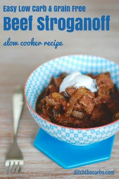 Try this easy recipe for low carb beef stroganoff in the slow cooker. #glutenfree #lchf #lowcarb   ditchthecarbs.com
