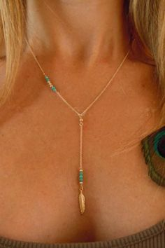Delicate  Turquoise and Feather Necklace
