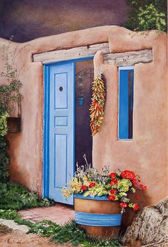 Taos New Mexico Barrel of Red Geraniums by Mary Dove Watercolor ~ 22 x 15