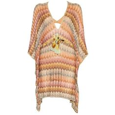 Preowned Stunning Missoni Gold Metallic Crochet Knit Kaftan Tunic... ($1,299) ❤ liked on Polyvore featuring dresses, multiple, zig zag dress, slip dress, caftan dress, missoni kaftan and crochet knit dress
