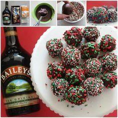 Baileys Balls No Bake Recipe 4 Ingredients Video Tutorial Baileys Balls Recipe, Baileys Recipes, Baking Recipes, Dessert Recipes, Desserts, Christmas Baking, Christmas Cookies, Appetizer Dips, Recipe For 4
