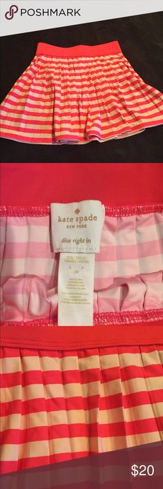 Skirt- pleated, orange and cream stripes This can be a beach cover-up or skirt for girls. My daughter wears a size 2, and it is too small for her. It is a small. kate spade Bottoms Skirts