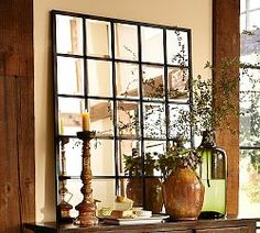 Wall Mirrors, Decorative Mirrors & Round Mirrors   Pottery Barn Above buffet console will make room feel larger and reflect living room window light rustic girly my style