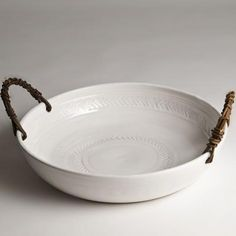 hand built pottery - serving bowl with rope handles