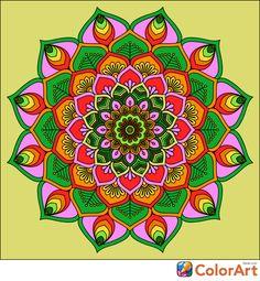 Mandala of Green & Pink, Primarily, ColorArt