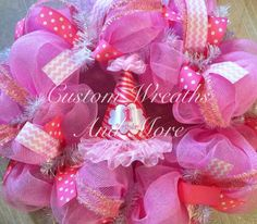 irst birthday poly deco mesh wreath. Made to match any theme. Happy Birthday Party wreath, first birthday keepsake, first birthday decor, first birthday wreath, baby wreath, hospital wreath, shower wreath, princess wreath, lemonade wreath, boy wreath and more. custom orders may take up to 2 weeks.