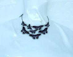 collana 8 elementi farfalla viola