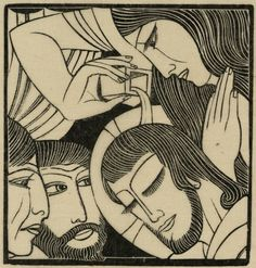Eric Gill (1882-1940, British), 1926, Mary Magdalen, Wood engraving.