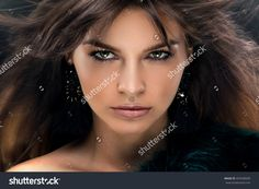 Fashion Portrait Of Elegant Young Woman With Brunette Long Hair And Perfect Glamour Makeup. Beauty Photo. - 455598589 : Shutterstock