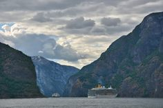 Costa Luminosa follows MS Rotterdam VI after leaving Flåm Art Prints For Sale, Cruise Ships, Rotterdam, Norway, Ms, Travel Photography, Europe, In This Moment, Fine Art