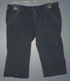 Hollister gray blue cropped pants junior womens size 5 #Hollister #CaprisCropped