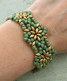 """NORTHERN STAR BRACELET 7/0 Matubo beads """" Turquoise with Silver Picasso """" 8/0 seed beads """"Opaque Tan"""" (no info available - see my com..."""
