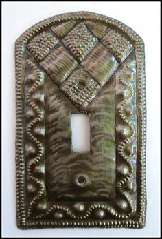 Decorative Light Switch Cover - Switchplate Cover, Recycled Steel Drum from Haiti - Single Decorative Light Switch Covers, Switch Plate Covers, Light Switch Plates, Metal Wall Decor, Hanging Wall Art, Metal Wall Art, Drums Art, Steel Drum, Metallic Paint