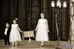 The bride is coming!!! #blisschicago #weddings #ringbearer #flowergirls #banner #blackandwhite