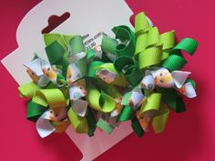 Hair Bow Set - Small Tinkerbell Korkers by PreciousPrettees on Etsy
