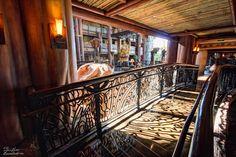 A sunlit walkway at the Animal Kingdom  Lodge in Walt Disney World.
