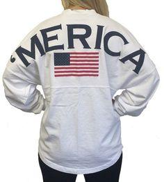 Ladies 'Merica' American Flag Spirit Jersey