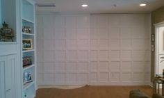 Create a little privacy with a moveable wall Basement Remodeling, Basement Ideas, Room Partitions, Wood Stone, Room Dividers, Laundry Room, Concrete, Art Gallery, House Ideas