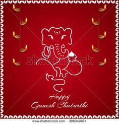 beautiful vector abstract for Ganesha Chaturthi with ganesha illustration in a crisp white colour background and orange colour floral texured background. - stock vector